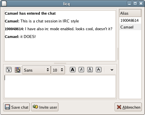 Chat in IRC mode